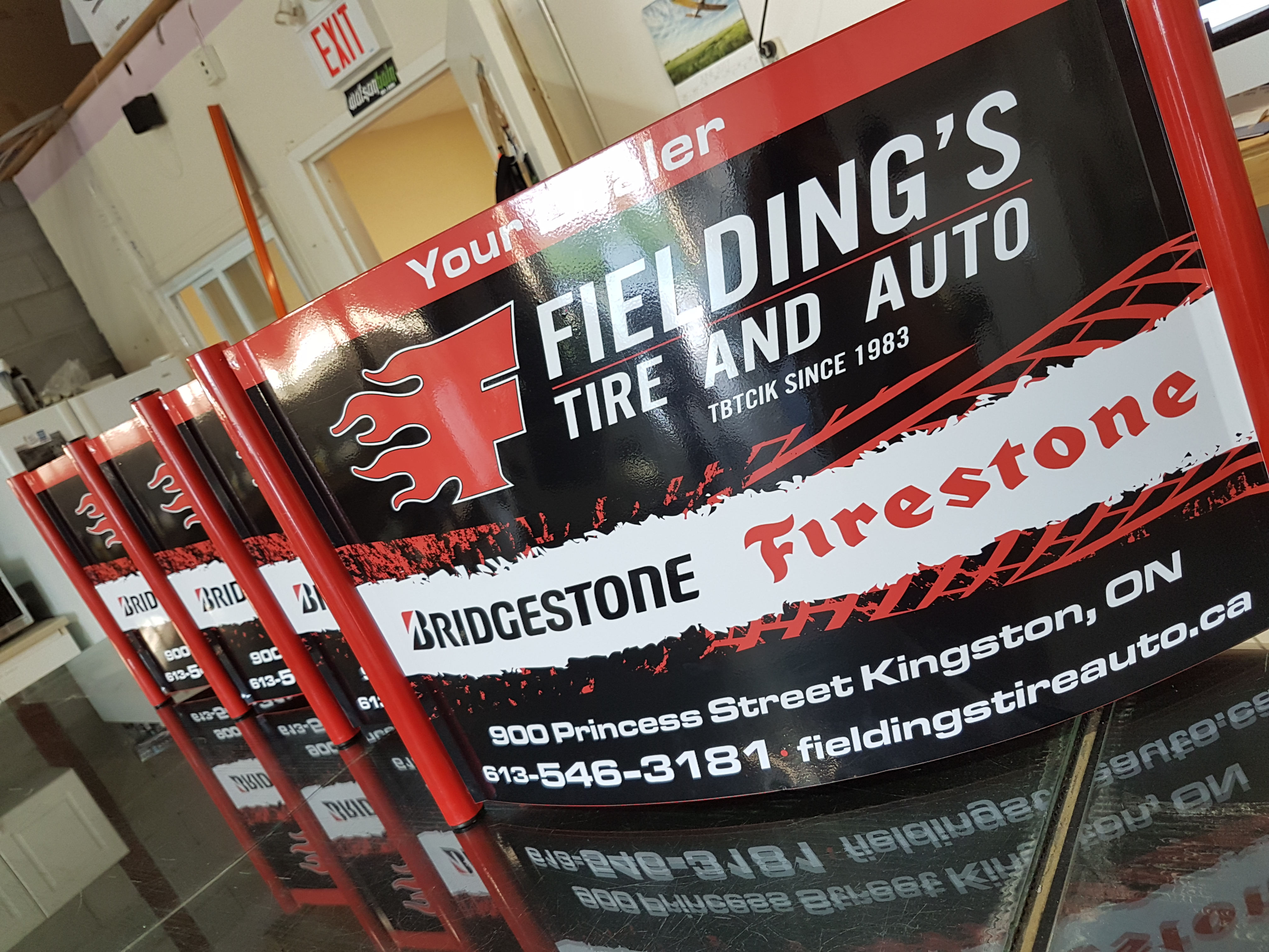 Fielding's Tire Product Signage